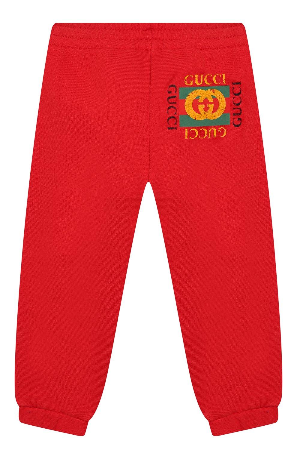 Детские хлопковые джоггеры GUCCI красного цвета, арт. 509179/X3L00 | Фото 1