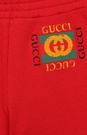 Детские хлопковые джоггеры GUCCI красного цвета, арт. 509179/X3L00 | Фото 3