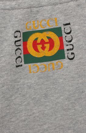 Детские хлопковые джоггеры GUCCI серого цвета, арт. 509179/X3L00 | Фото 3