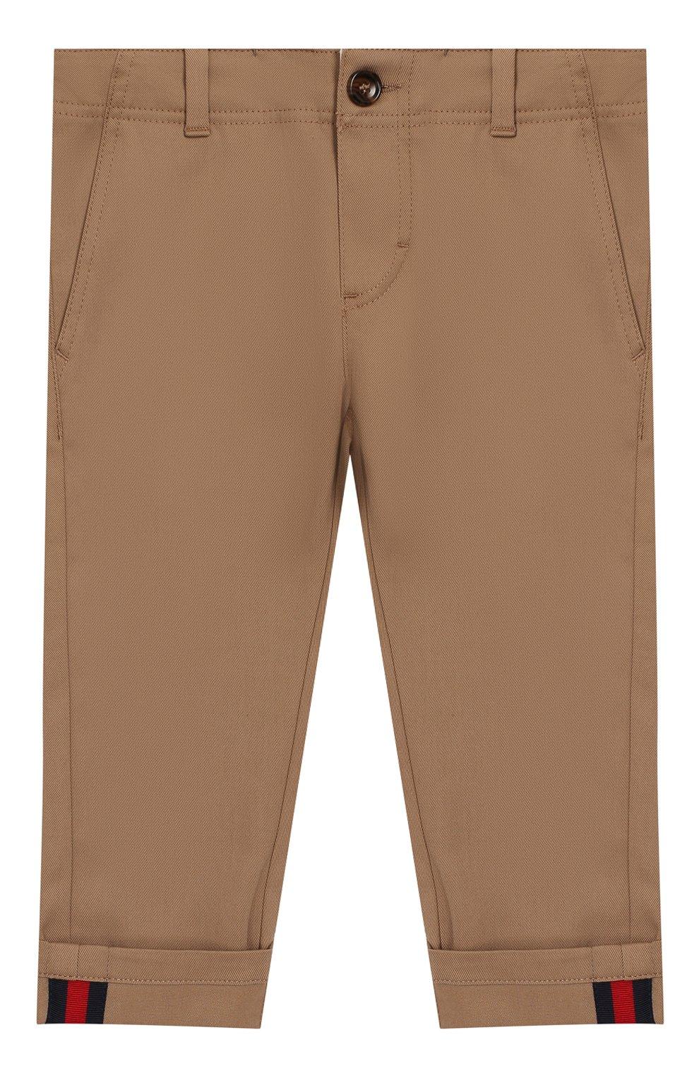 Детские хлопковые брюки GUCCI бежевого цвета, арт. 475408/XBB56 | Фото 1