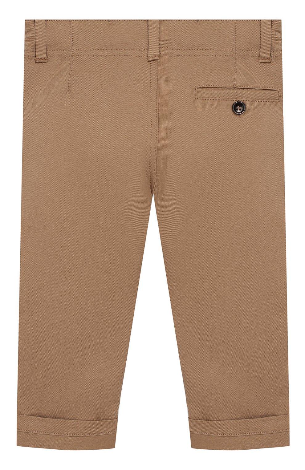 Детские хлопковые брюки GUCCI бежевого цвета, арт. 475408/XBB56 | Фото 2