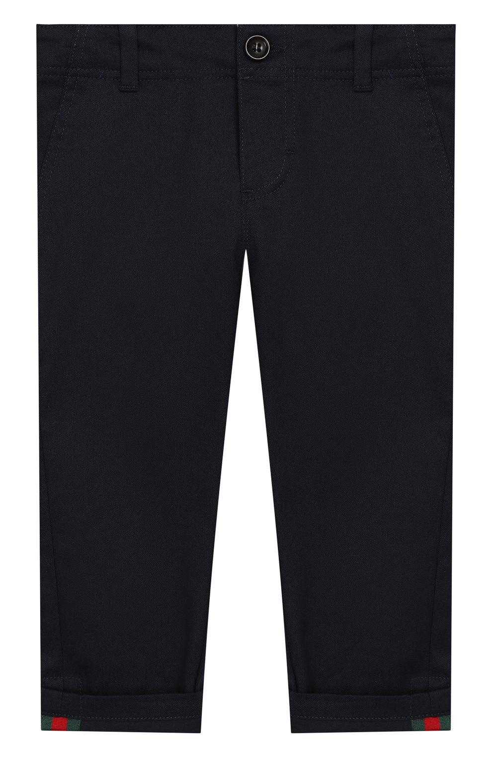 Детские хлопковые брюки GUCCI синего цвета, арт. 475408/XBB56   Фото 1