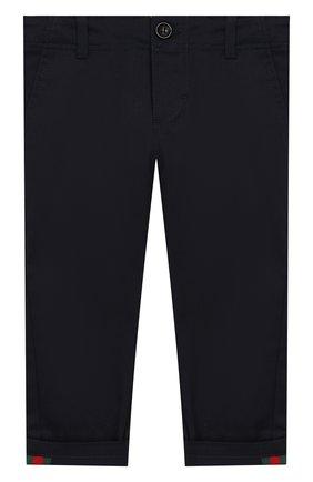 Детские хлопковые брюки GUCCI синего цвета, арт. 475408/XBB56 | Фото 1