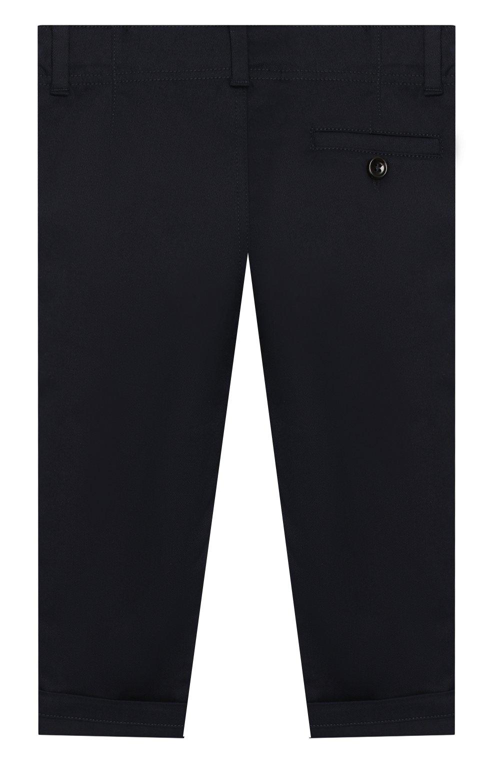 Детские хлопковые брюки GUCCI синего цвета, арт. 475408/XBB56   Фото 2
