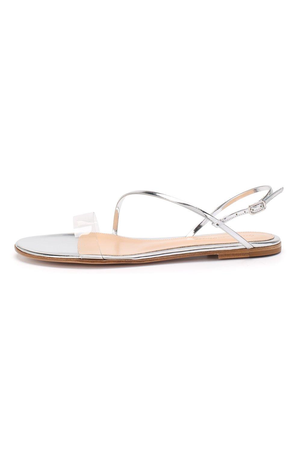 Комбинированные сандалии Gianvito Rossi серебряные | Фото №3