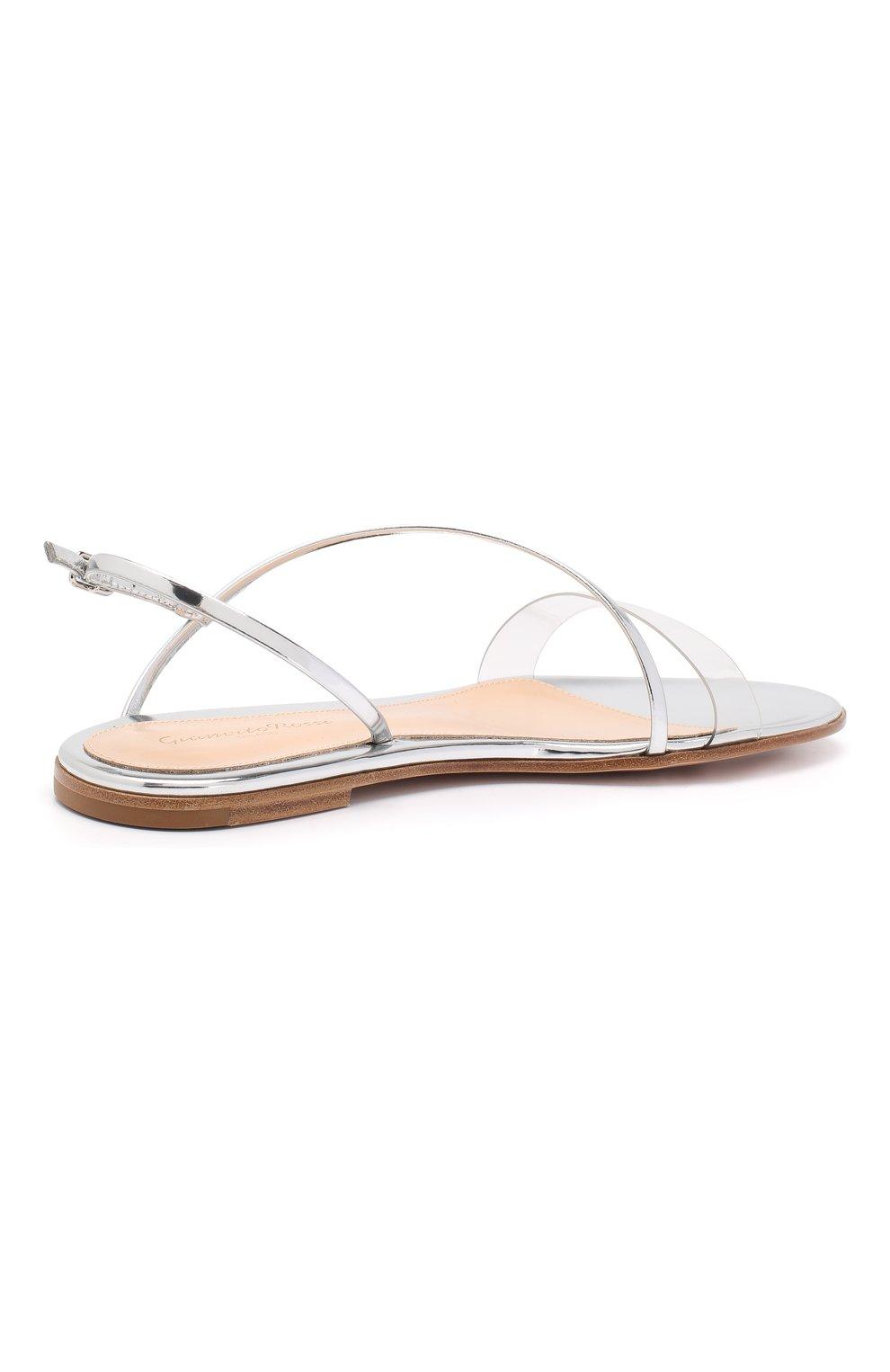 Комбинированные сандалии Gianvito Rossi серебряные | Фото №4