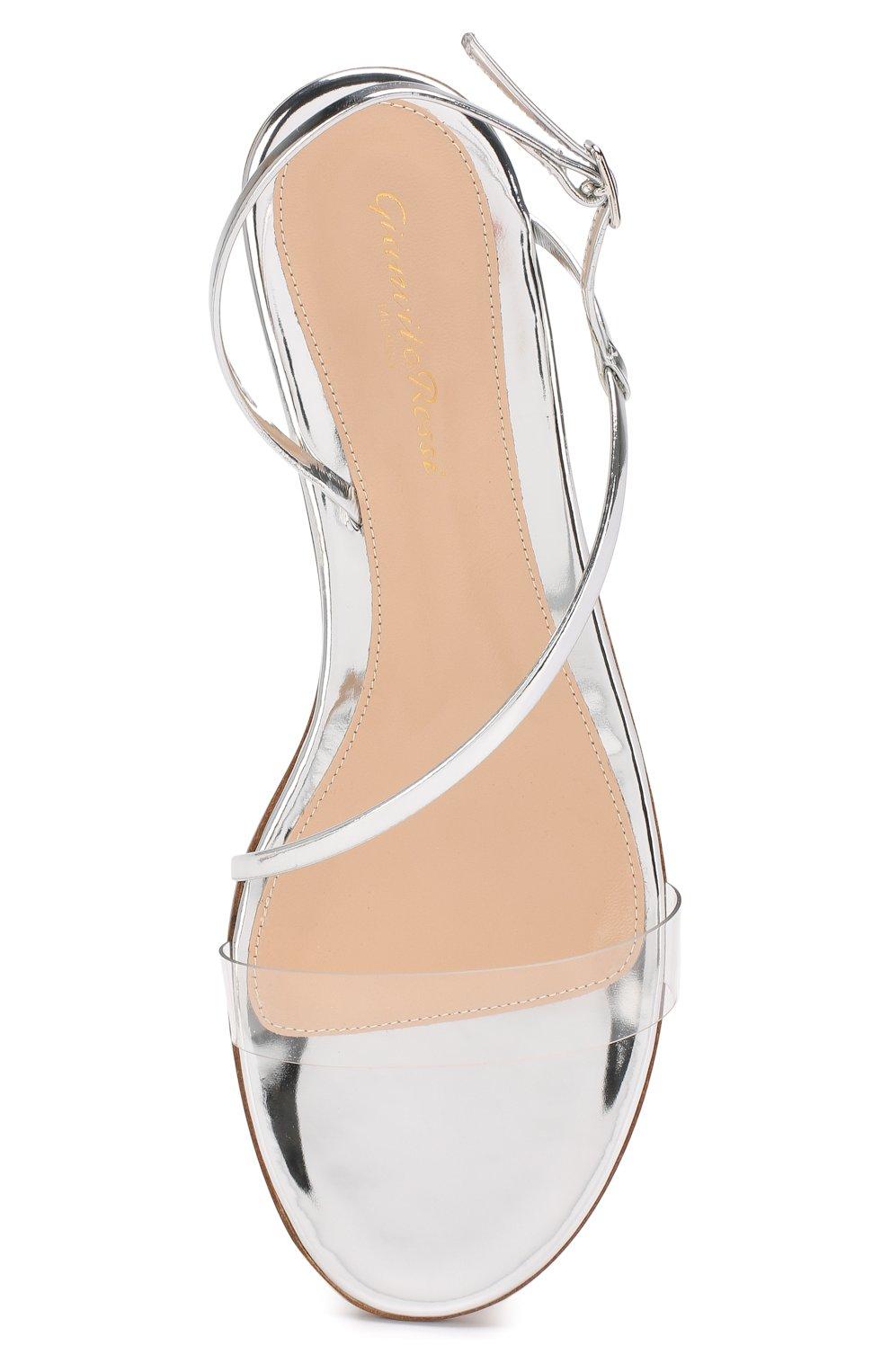 Комбинированные сандалии Gianvito Rossi серебряные | Фото №5