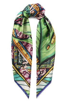 Женский шелковый платок RUBEUS MILANO зеленого цвета, арт. RUB01 | Фото 1