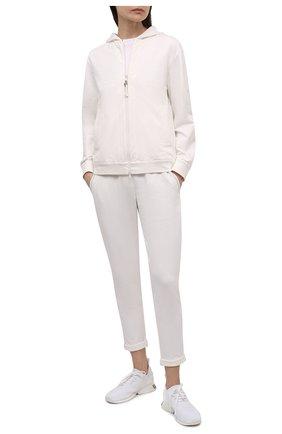 Женский хлопковая толстовка BRUNELLO CUCINELLI белого цвета, арт. MH827SA306 | Фото 2 (Рукава от горловины: Длинные; Длина (для топов): Стандартные; Материал внешний: Хлопок; Женское Кросс-КТ: Кардиган-одежда; Рукава: Длинные; Статус проверки: Проверена категория; Стили: Кэжуэл)