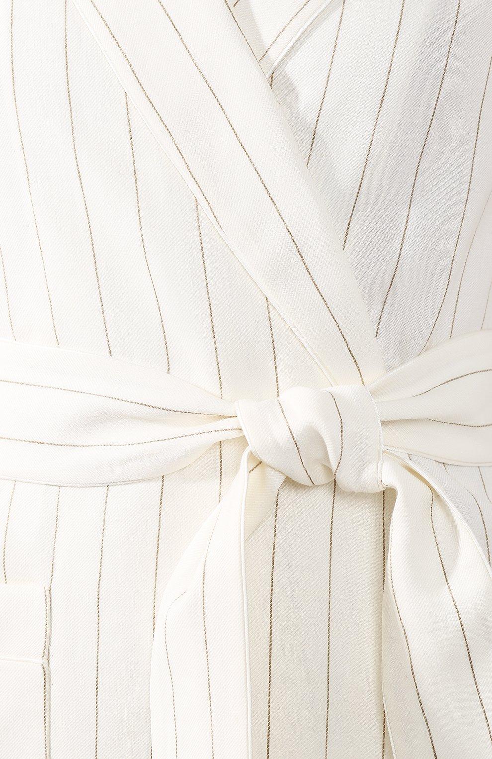 Льняной жакет Loro Piana белый | Фото №5