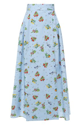 Женская хлопковая юбка WEILL голубого цвета, арт. 102117 | Фото 1 (Длина Ж (юбки, платья, шорты): Миди; Материал внешний: Хлопок; Статус проверки: Проверена категория)