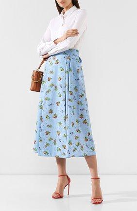 Женская хлопковая юбка WEILL голубого цвета, арт. 102117 | Фото 2 (Длина Ж (юбки, платья, шорты): Миди; Материал внешний: Хлопок; Статус проверки: Проверена категория)