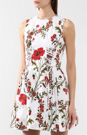 Хлопковое платье Alexander McQueen белое   Фото №3