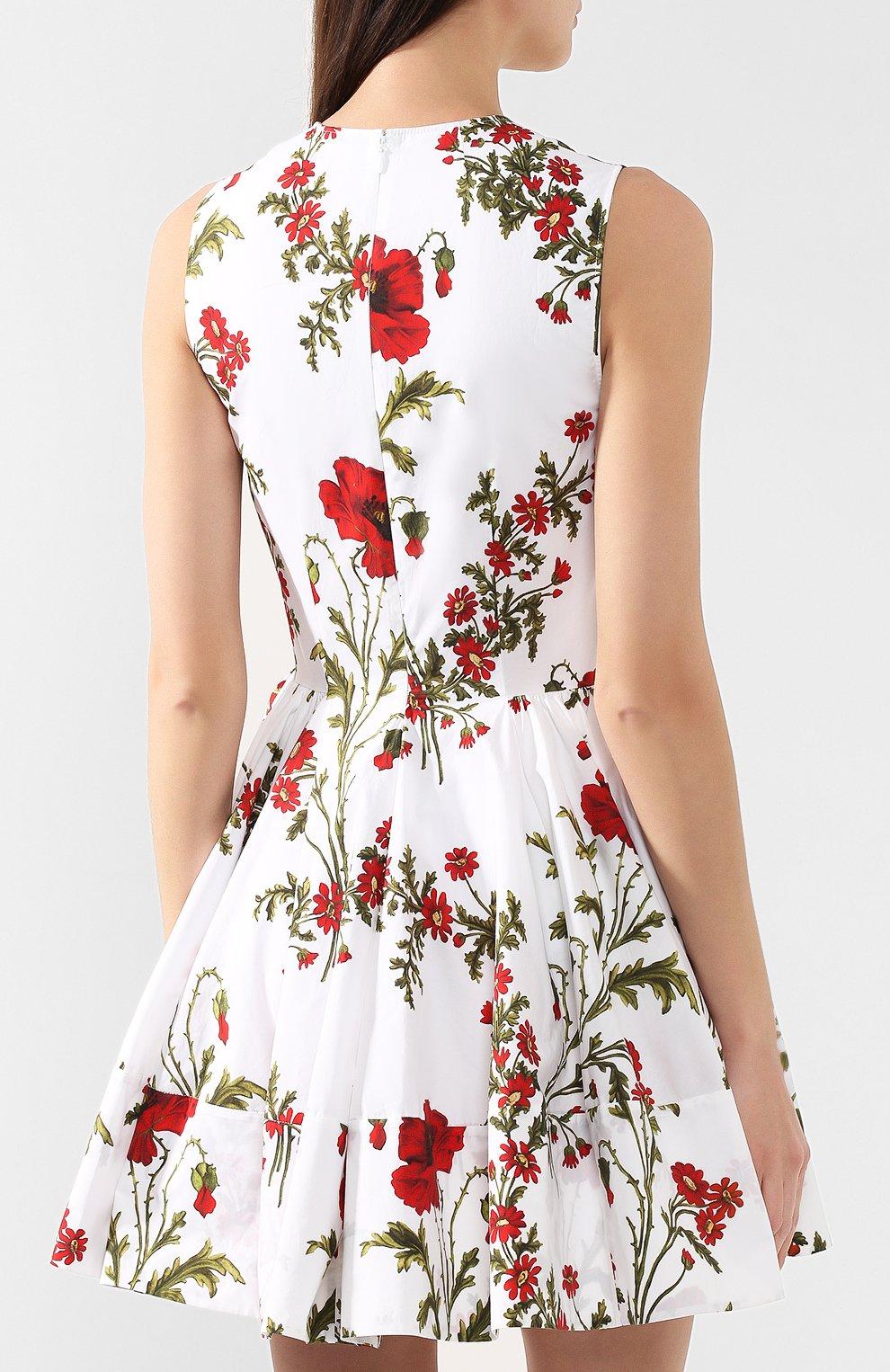 Хлопковое платье Alexander McQueen белое   Фото №4