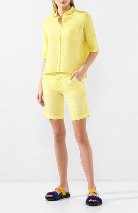 Женские льняные шорты 120% LINO желтого цвета, арт. P0W2794/0253/F00   Фото 2