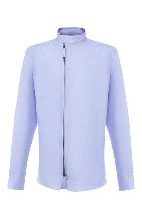 Мужская льняная рубашка GIORGIO ARMANI сиреневого цвета, арт. 9SGCCZ14/TZ256 | Фото 1