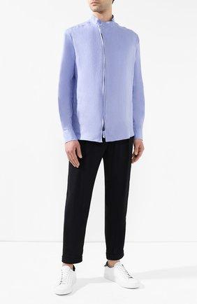 Мужская льняная рубашка GIORGIO ARMANI сиреневого цвета, арт. 9SGCCZ14/TZ256 | Фото 2