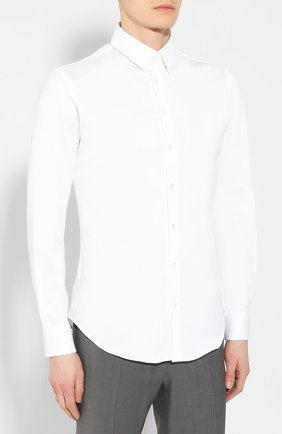 Мужская хлопковая сорочка GIORGIO ARMANI белого цвета, арт. 8WGCCZ97/JZ071 | Фото 3