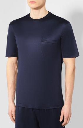 Мужская шелковая пижама BRIONI темно-синего цвета, арт. UJ9Y0L/P8607 | Фото 2