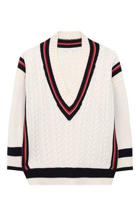 Детский хлопковый пуловер BURBERRY белого цвета, арт. 8008793 | Фото 1