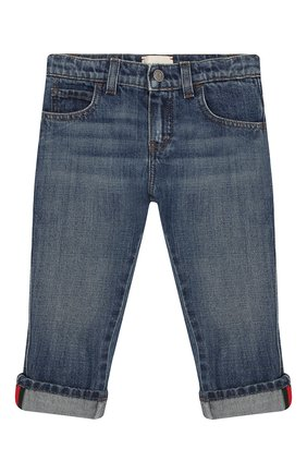 Детские джинсы с потертостями GUCCI синего цвета, арт. 455454/XR384 | Фото 1