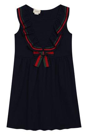 Детское хлопковое платье GUCCI синего цвета, арт. 544057/XJALP | Фото 1