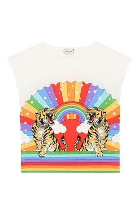 Детская хлопковая футболка GUCCI разноцветного цвета, арт. 552149/XJAPI | Фото 1