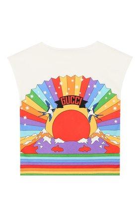 Детская хлопковая футболка GUCCI разноцветного цвета, арт. 552149/XJAPI | Фото 2