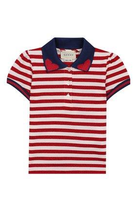 Детский хлопковое поло GUCCI красного цвета, арт. 552358/XJALK | Фото 1