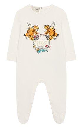 Детский хлопковый комбинезон GUCCI белого цвета, арт. 552385/XJAPU | Фото 1