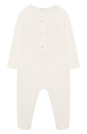 Детский хлопковый комбинезон GUCCI белого цвета, арт. 552385/XJAPU | Фото 2