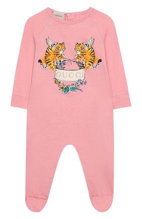Детский хлопковый комбинезон GUCCI розового цвета, арт. 552385/XJAPU | Фото 1