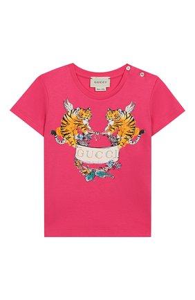 Детский хлопковая футболка GUCCI фуксия цвета, арт. 555675/XJAPU | Фото 1