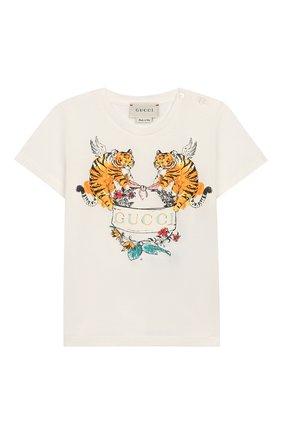 Детский хлопковая футболка GUCCI белого цвета, арт. 555675/XJAPU | Фото 1