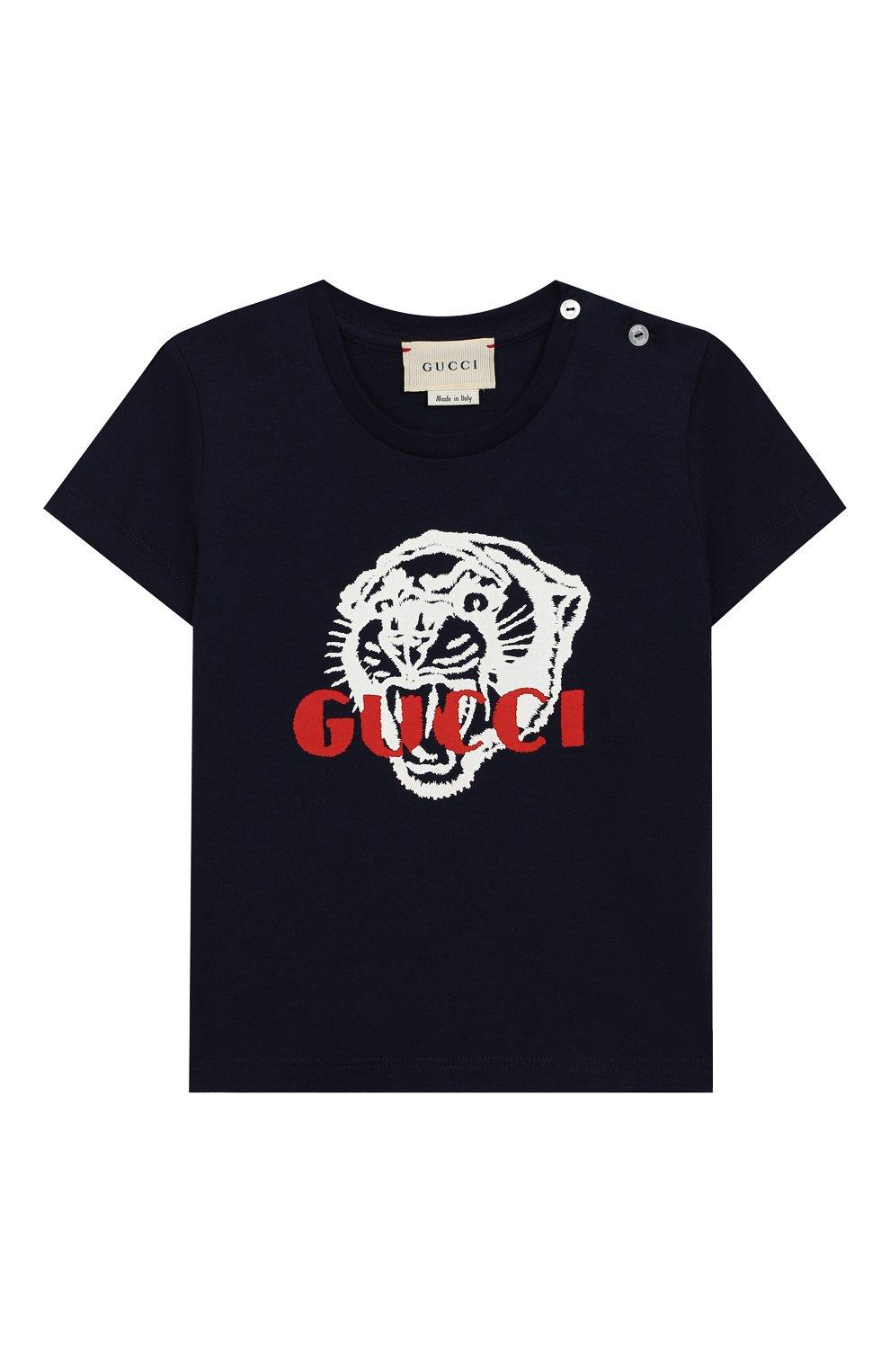 Детский хлопковая футболка GUCCI синего цвета, арт. 548034/XJAIG | Фото 1