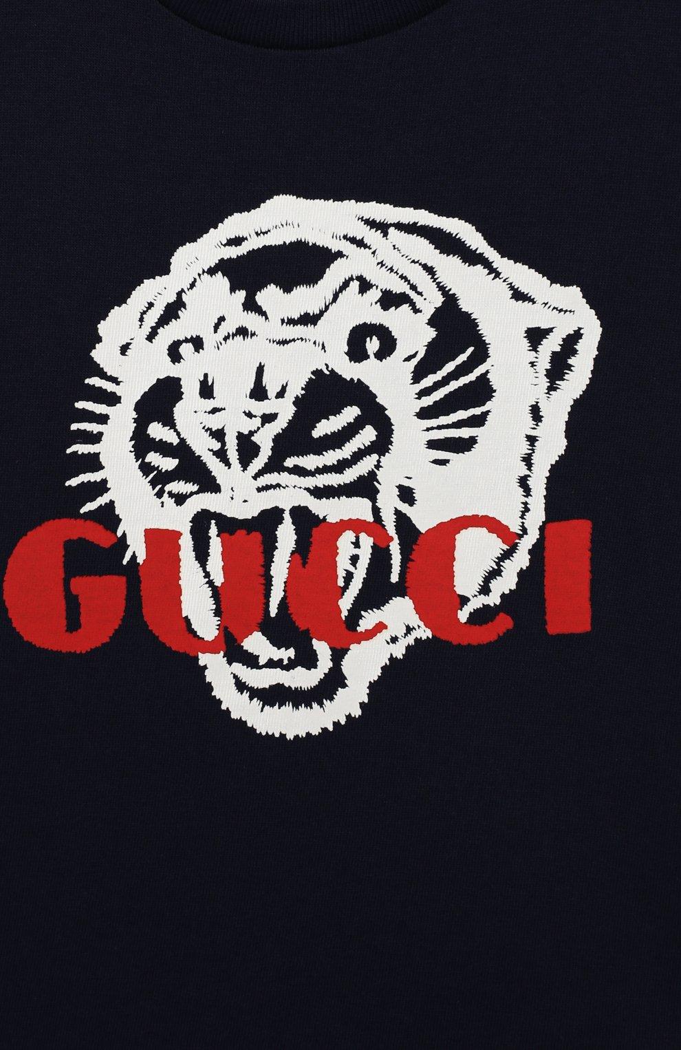 Детский хлопковая футболка GUCCI синего цвета, арт. 548034/XJAIG | Фото 3