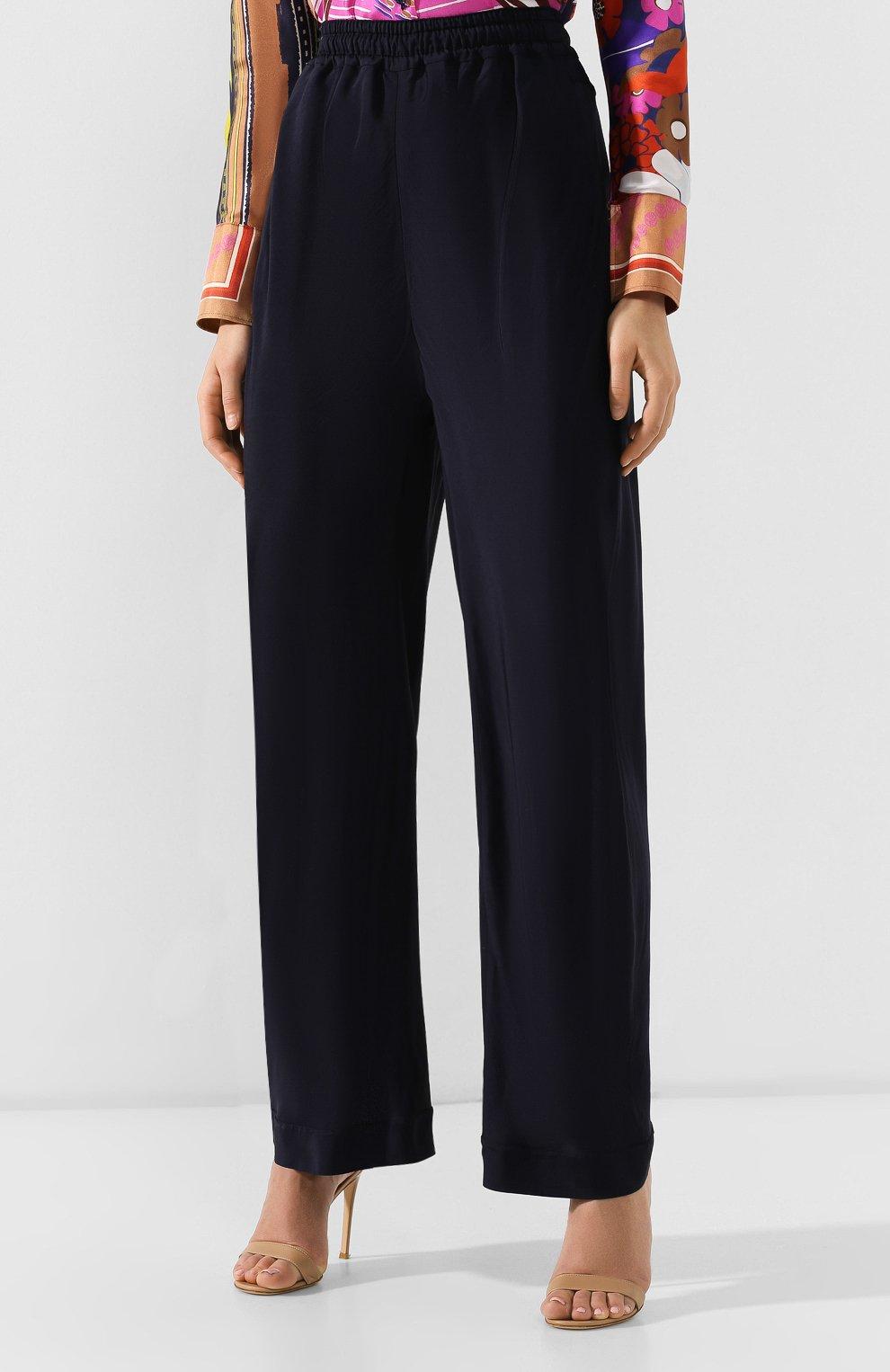 5566c20b5bae Женские темно-синие брюки из смеси вискозы и шелка CHLOÉ — купить за ...