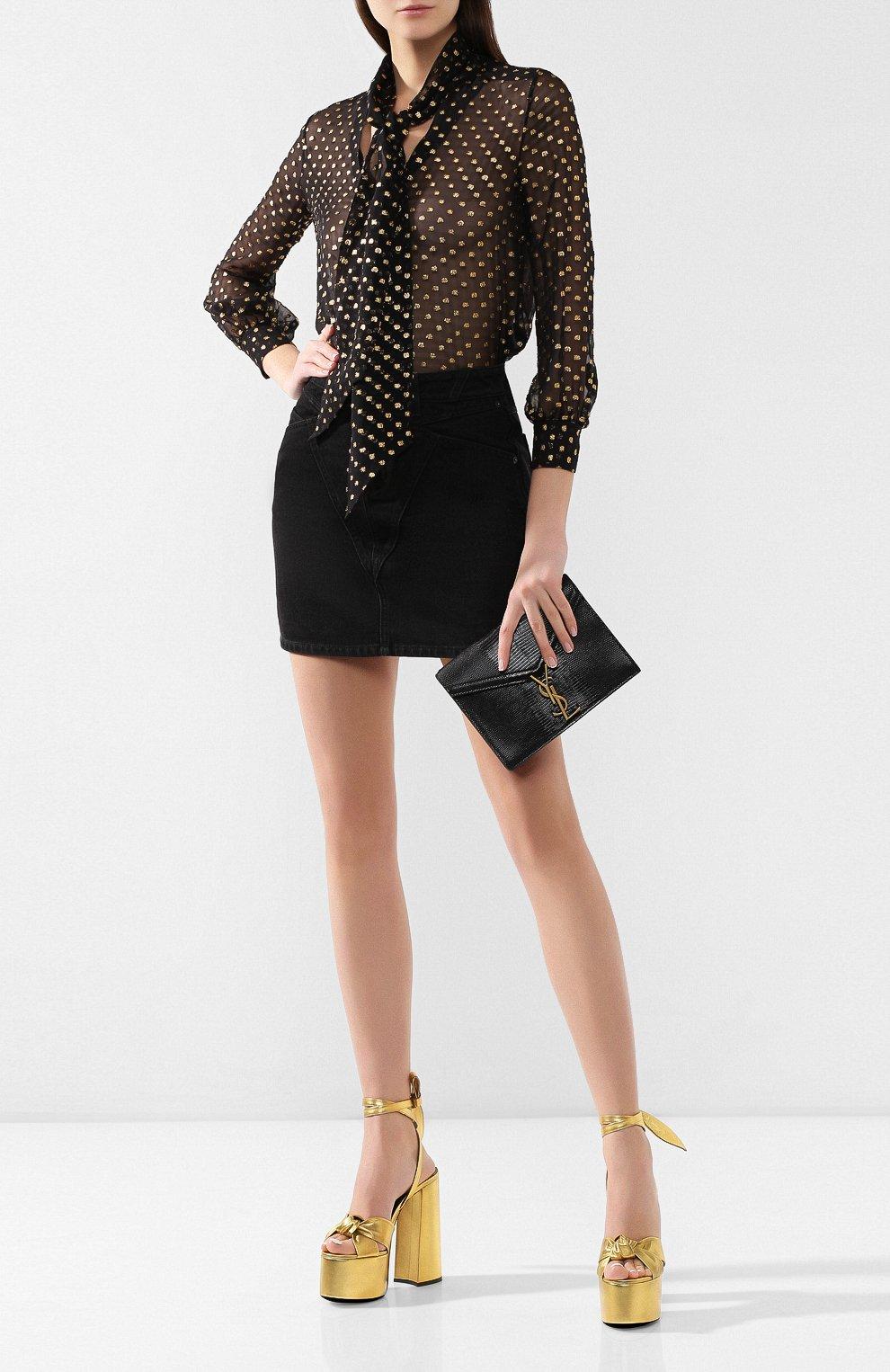 Кожаные босоножки Paige Saint Laurent золотые | Фото №2
