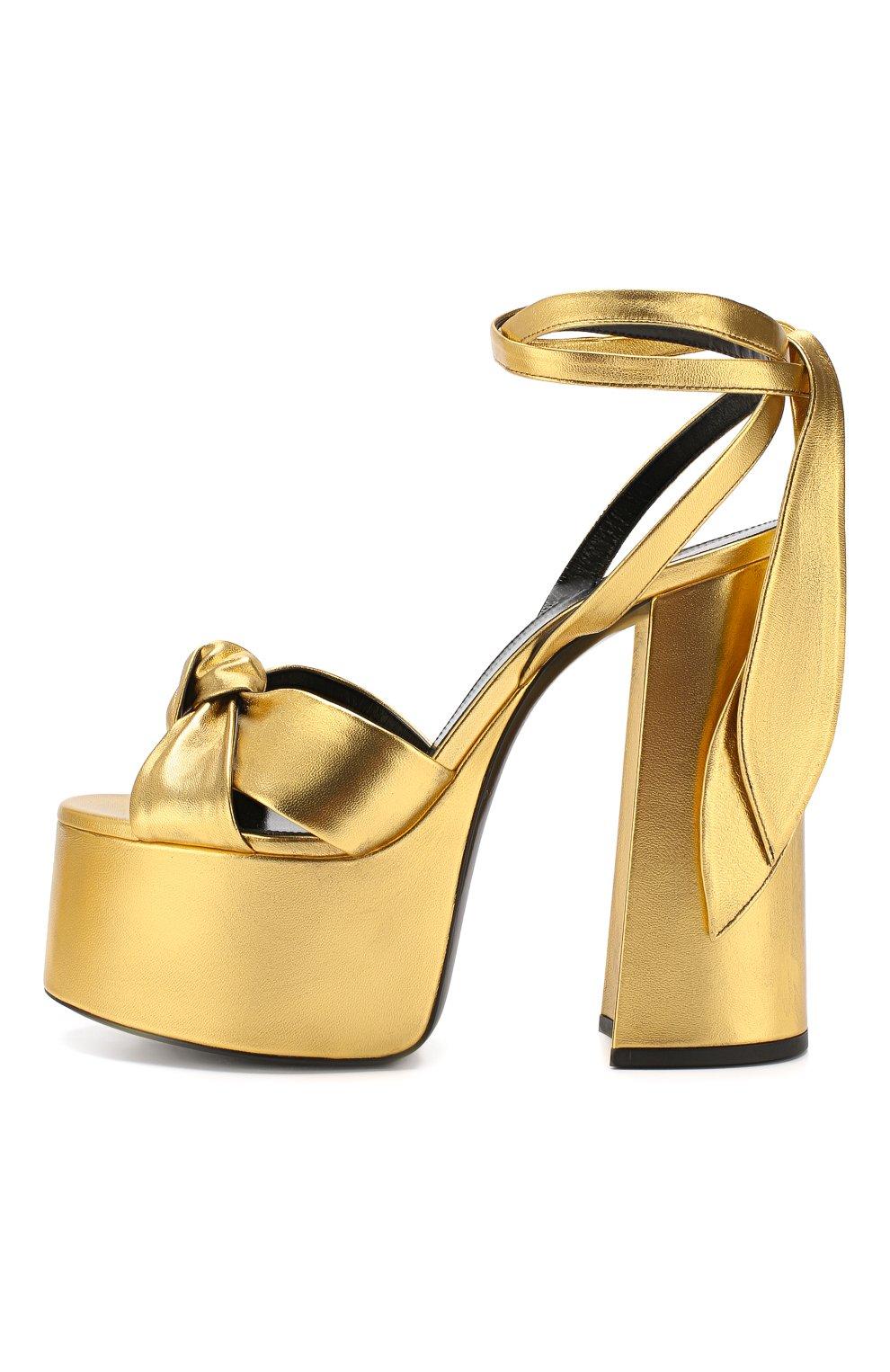 Кожаные босоножки Paige Saint Laurent золотые | Фото №3