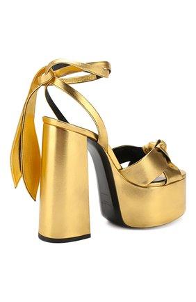 Кожаные босоножки Paige Saint Laurent золотые | Фото №4