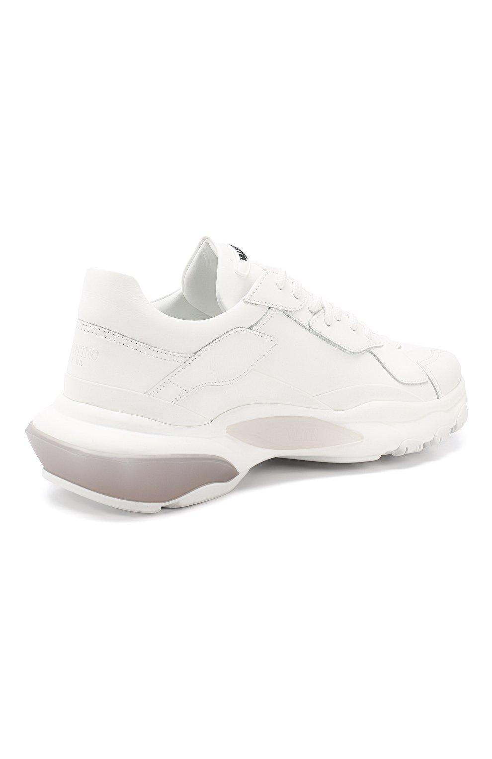 Кожаные кроссовки Valentino Garavani Bounce Valentino белые | Фото №4