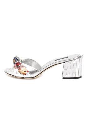 Кожаные мюли Keira Dolce & Gabbana серебряные   Фото №3