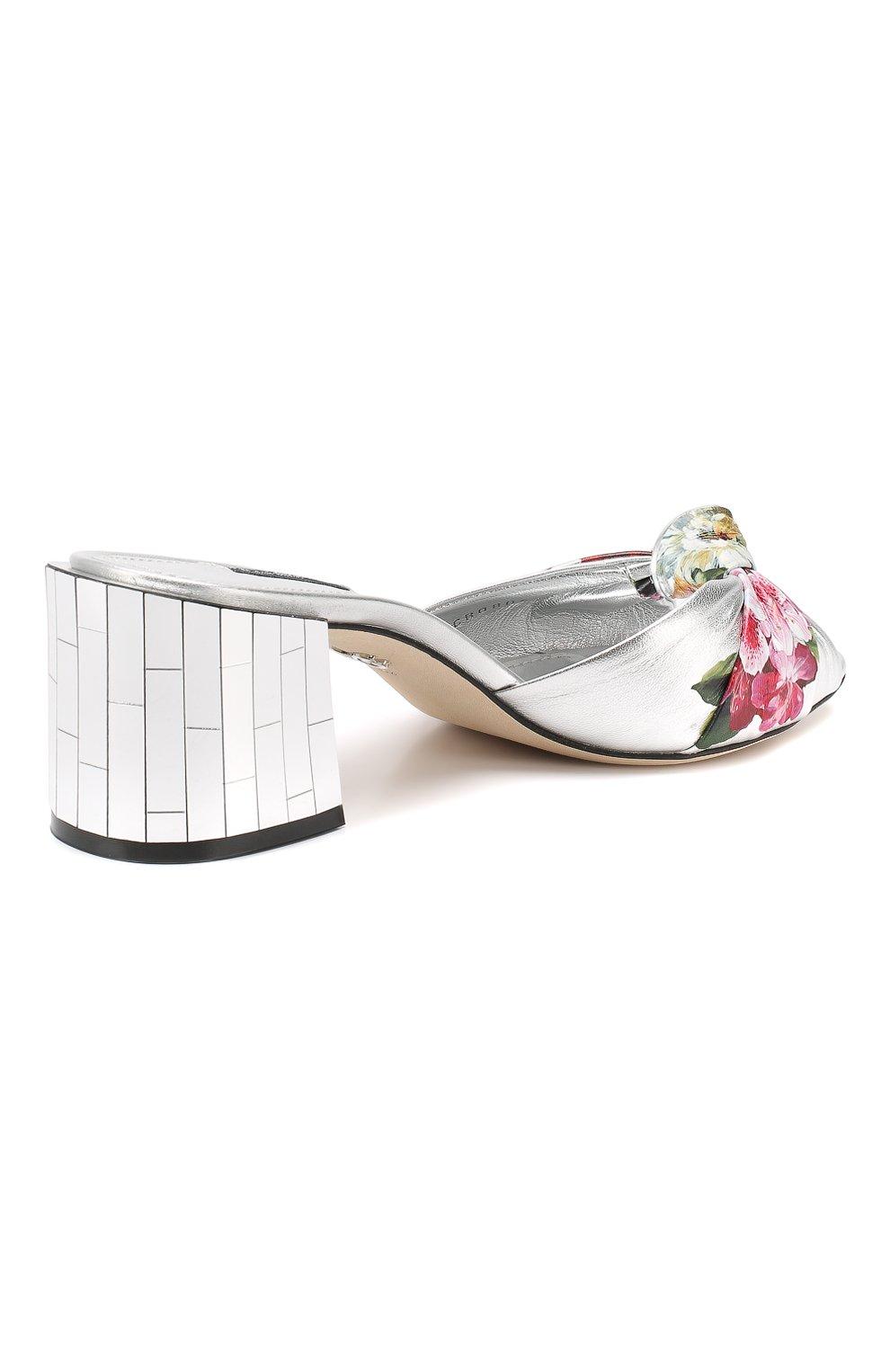 Кожаные мюли Keira Dolce & Gabbana серебряные   Фото №4