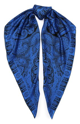Женский шелковый платок MICHELE BINDA синего цвета, арт. 21036101 | Фото 1
