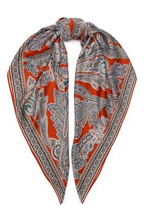 Женский шелковый платок MICHELE BINDA оранжевого цвета, арт. 21036350 | Фото 1