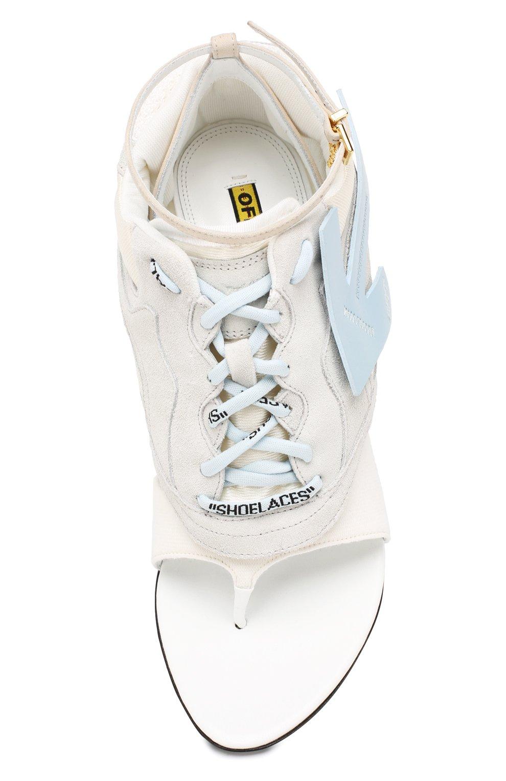 Комбинированные босоножки Runner Off-White белые | Фото №5