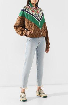 Женские кожаные кеды screener  GUCCI бежевого цвета, арт. 570442/0YI20 | Фото 2