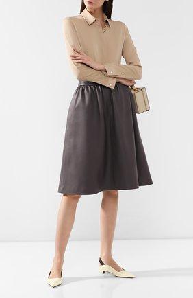 Женская кожаная юбка MASLOV серого цвета, арт. UT002   Фото 2