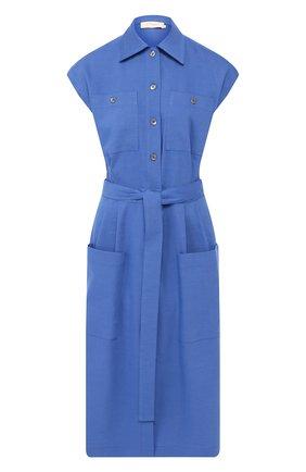 Платье из смеси льна и вискозы L`Enigme синее | Фото №1