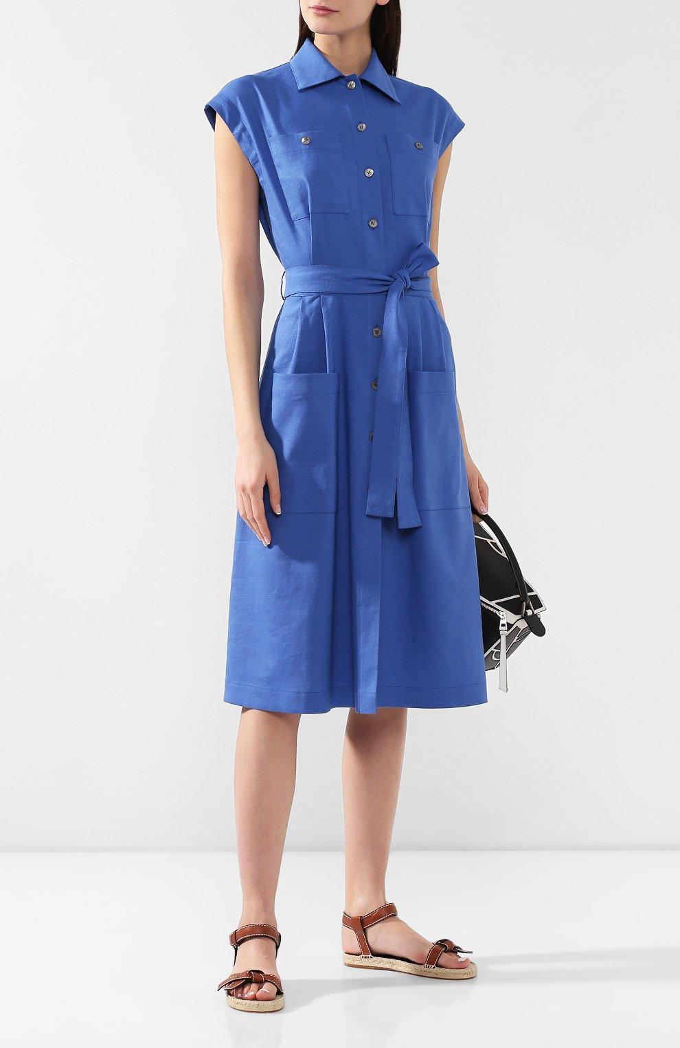 Платье из смеси льна и вискозы L`Enigme синее | Фото №2